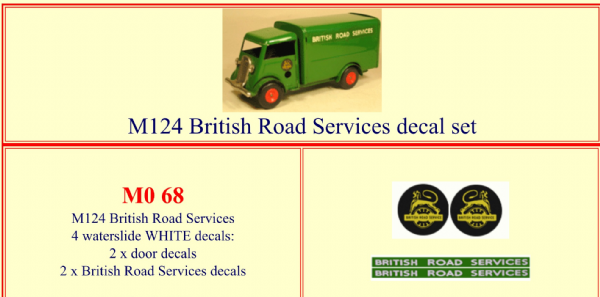 "M068 Tri-ang ( Triang ) Minic M124 "" BRITISH ROAD SERVICES "" decal set"
